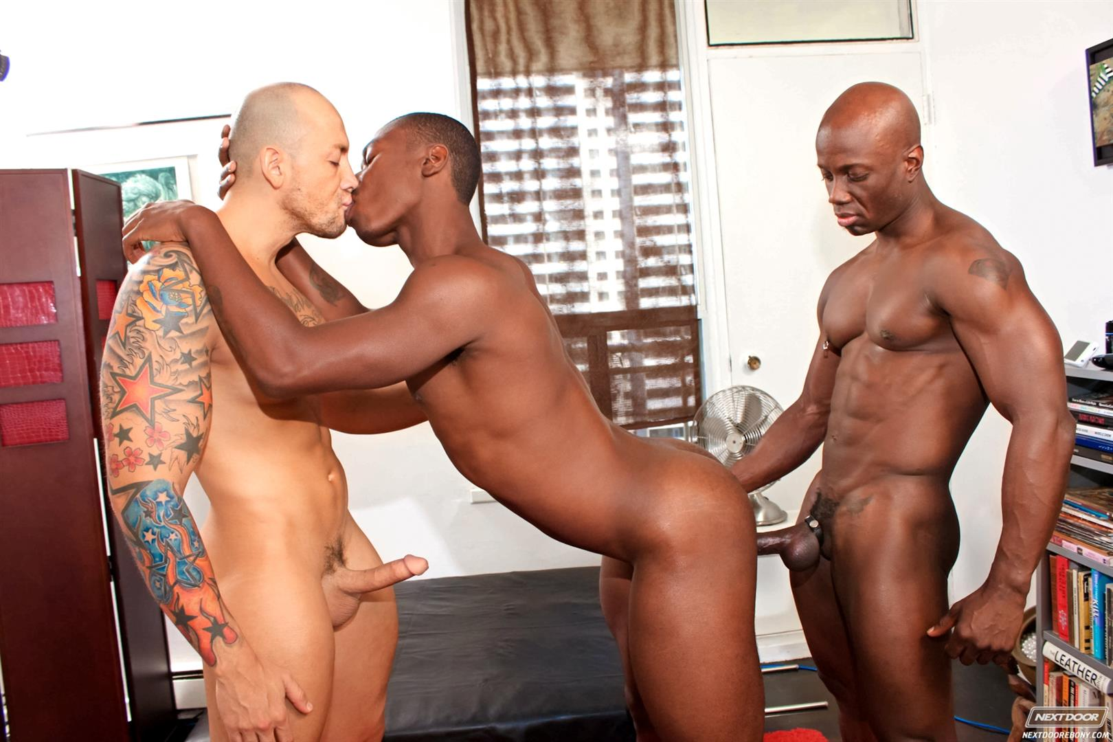 Next-Door-Ebony-Jordano-Santoro-and-Jay-Black-and-Damian-Brooks-Interracial-Gay-Fucking-Threeway-Amateur-Gay-Porn-12 Interracial Muscle Couple Picks Up A Black Muscle Stud In The Park
