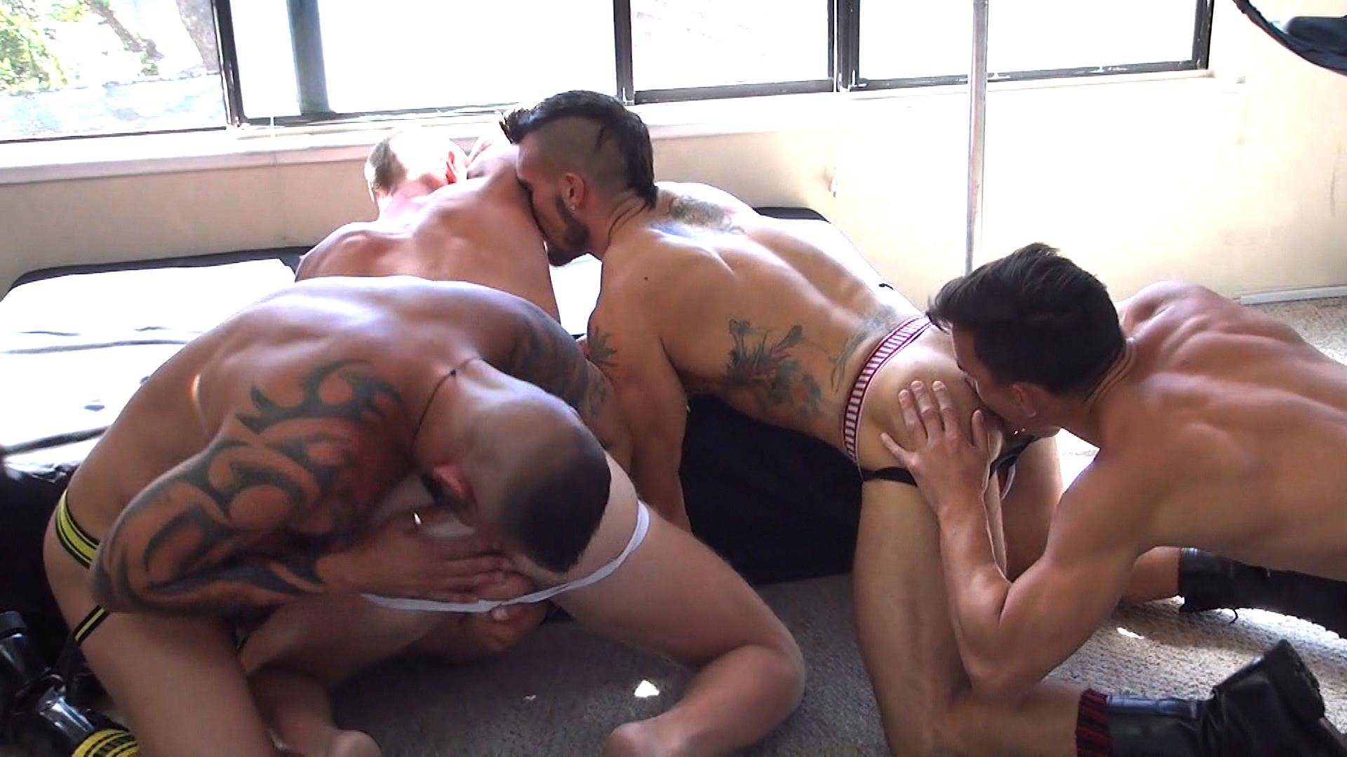 Raw-Fuck-Club-Derrick-Hanson-and-Aarin-Asker-and-Billy-Warren-and-Adam-Avery-Amateur-Gay-Porn-10 Group Sex Bareback Fucking At The Folsom Street Fair 2015