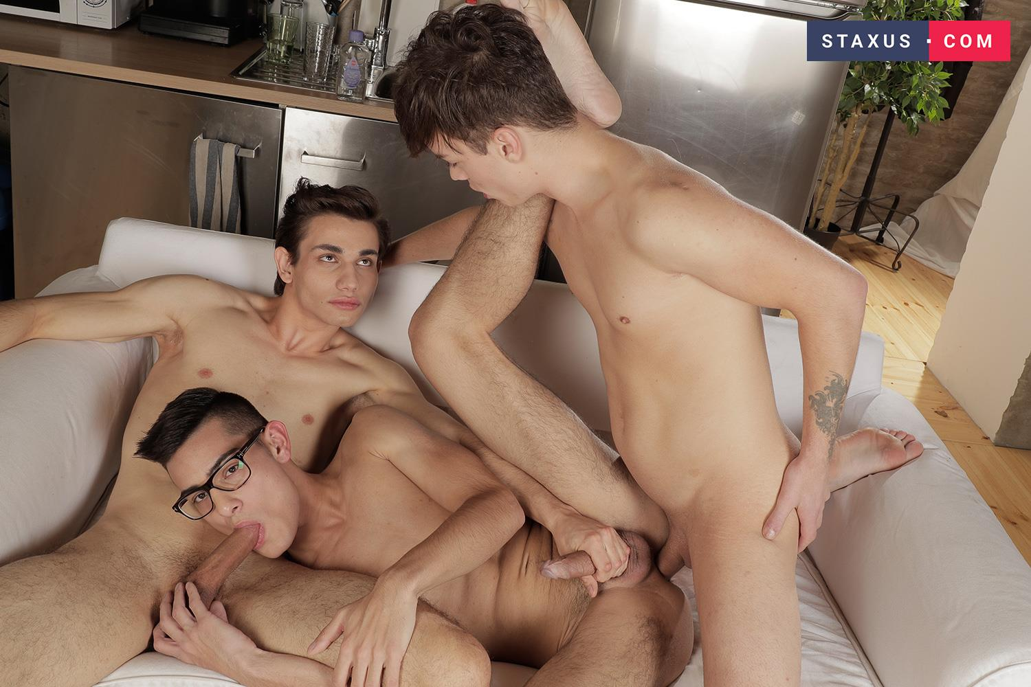 Staxus-Max-Grey-and-Orri-Gaul-and-Lior-Hod-Bareback-Twink-Sex-14 Nerdy Twink Takes Two Bareback Dicks Up The Butt
